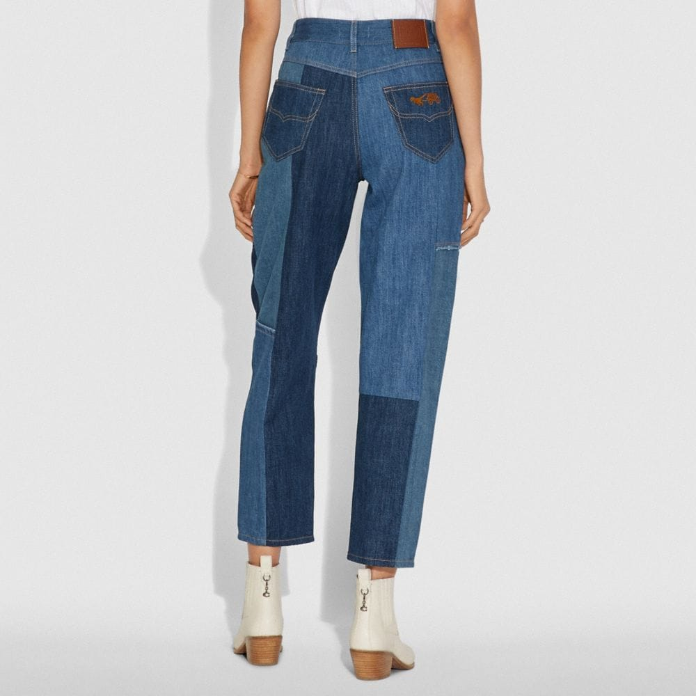 Coach Denim Patchwork Pleated Trousers Alternate View 2