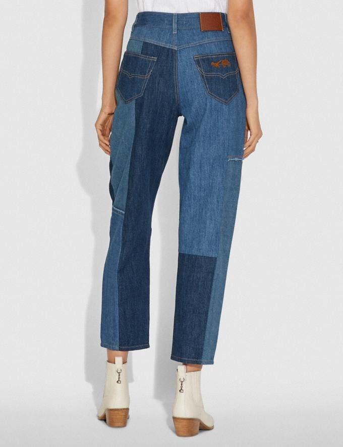 Coach Denim Patchwork Pleated Trousers Blue  Alternate View 2