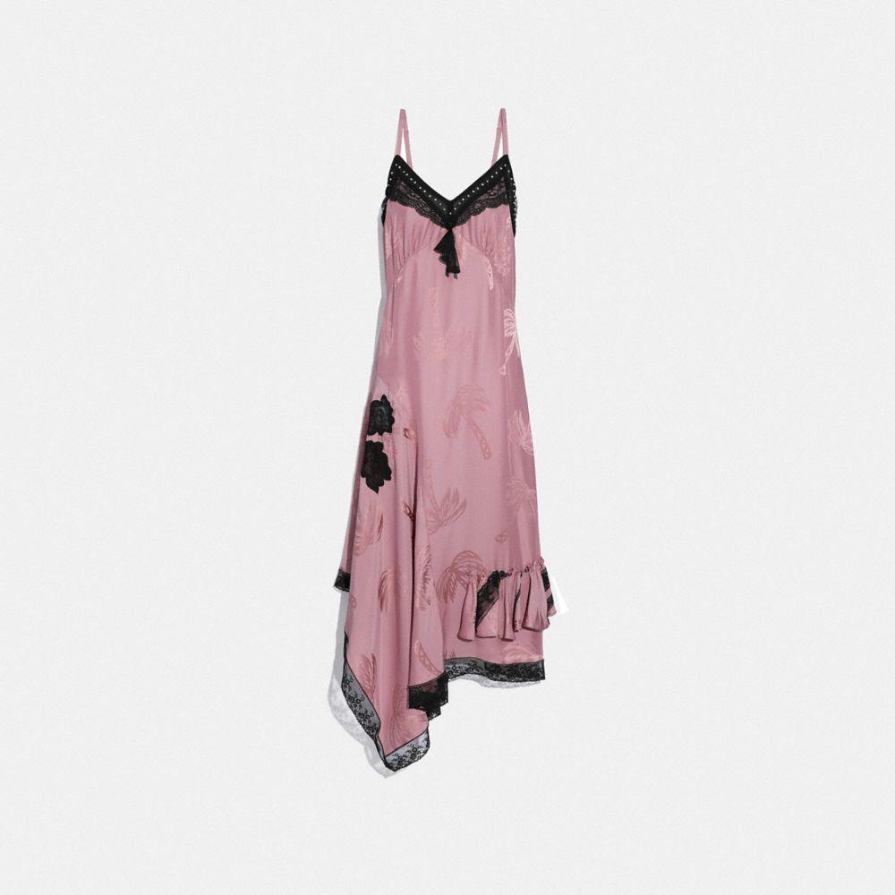 PALM TREE PRINT JACQUARD SLIP DRESS
