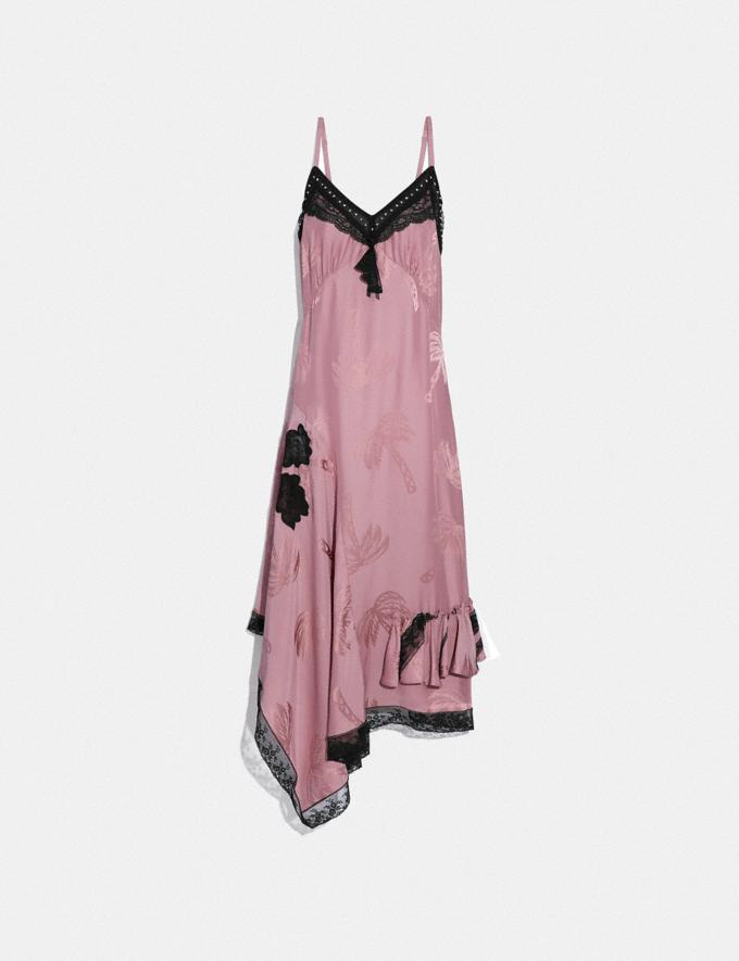 Coach Palm Tree Print Jacquard Slip Dress Pink