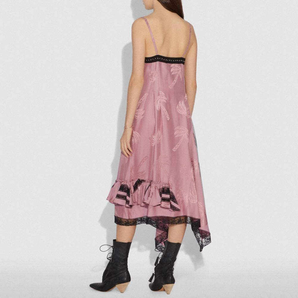Coach Palm Tree Print Jacquard Slip Dress Alternate View 2