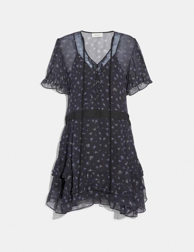 Coach Scattered Rose Print Short Dress Navy Women Ready-to-Wear Dresses