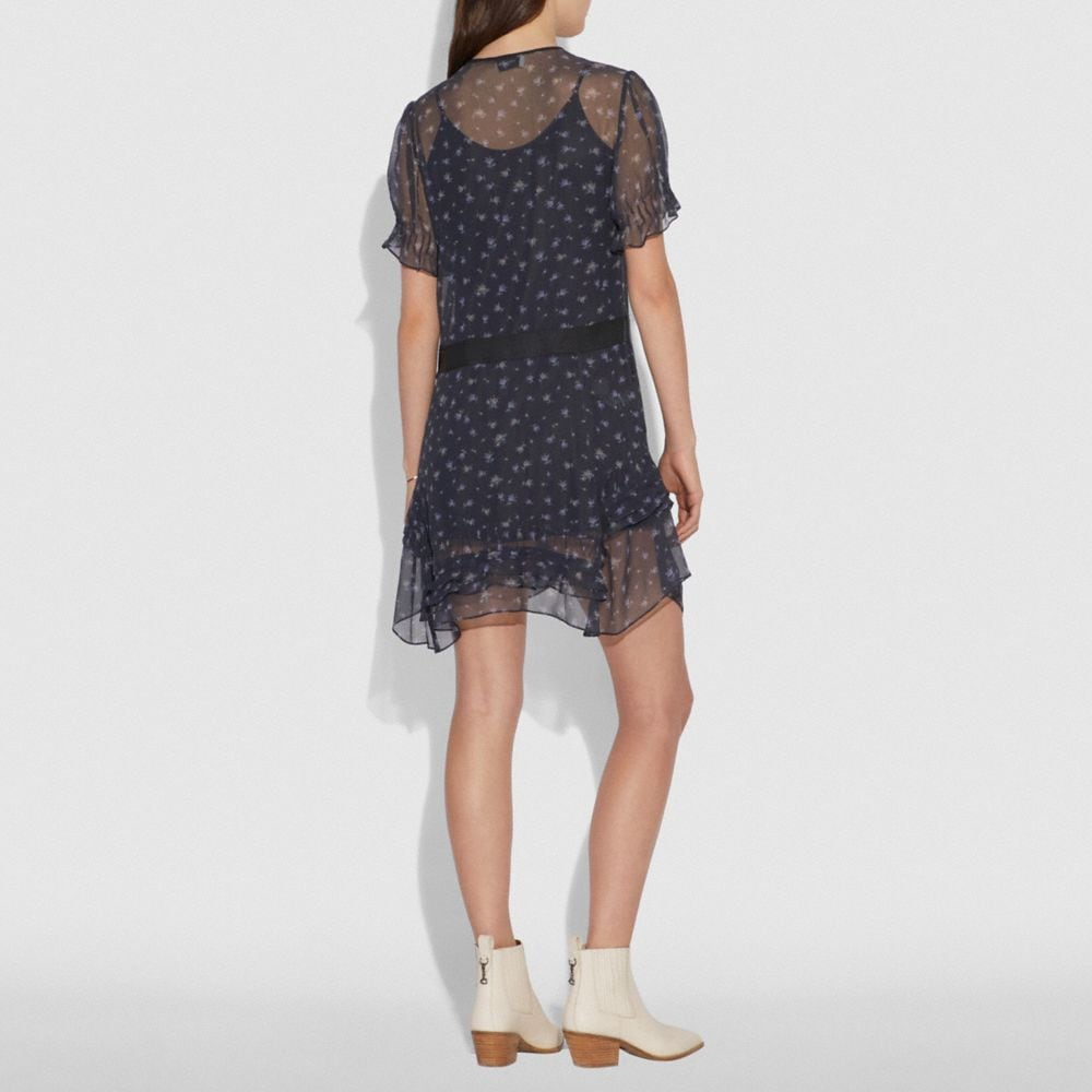 Coach Scattered Rose Print Short Dress Alternate View 2
