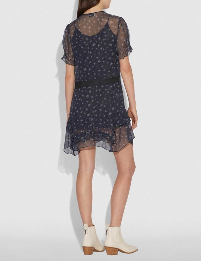 Coach Scattered Rose Print Short Dress Navy Women Ready-to-Wear Dresses Alternate View 2