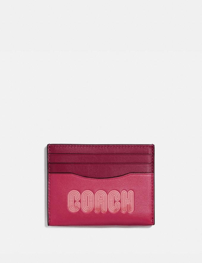 Coach Card Case With Coach Print Bright Cherry/Gunmetal Women Wallets & Wristlets Small Wallets