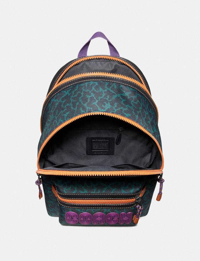 Coach Academy Backpack With Animal Graphic Print Green Wavy Animal/Black Copper Finish Men Bags Backpacks Alternate View 2