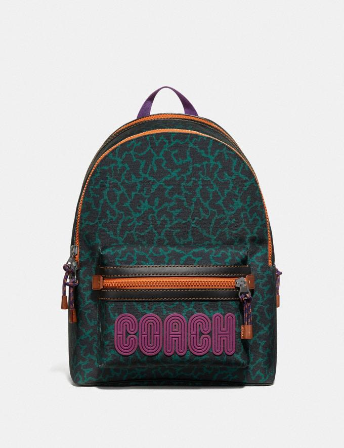Coach Academy Backpack With Animal Graphic Print Green Wavy Animal/Black Copper Finish Men Bags Backpacks