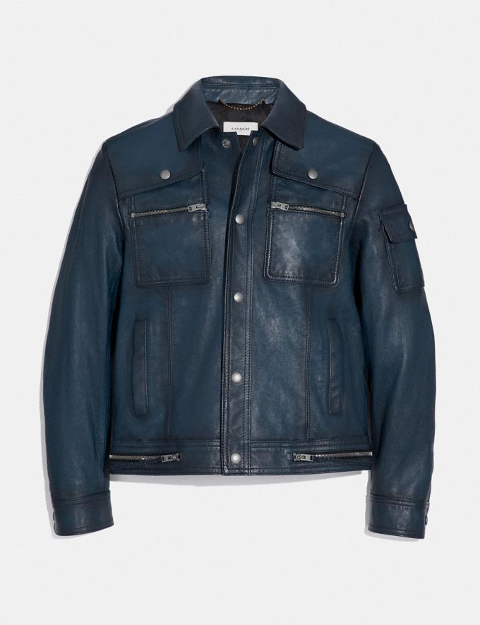 Coach Snap Front Moto Jacket Admiral New Men's New Arrivals
