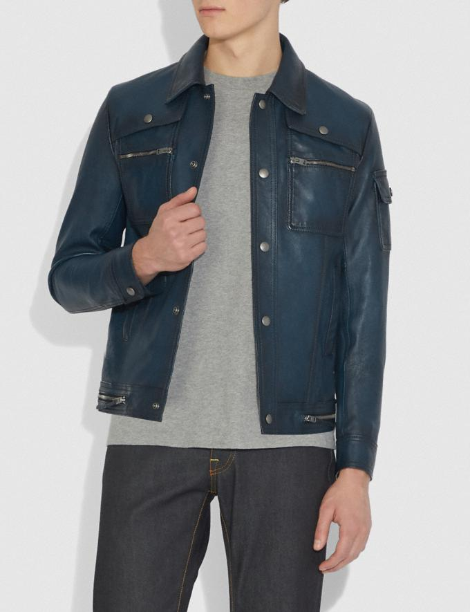 Coach Snap Front Moto Jacket Admiral New Men's New Arrivals Alternate View 1