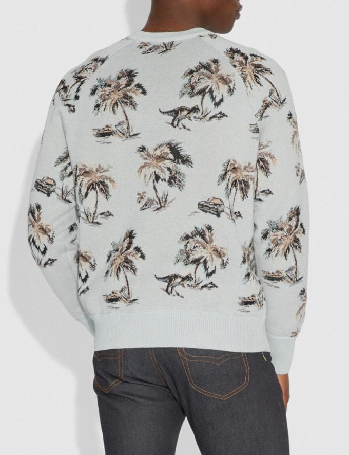 Coach Palm Tree Print Jacquard Sweater Blue/Multi Men Ready-to-Wear Tops & Bottoms Alternate View 2