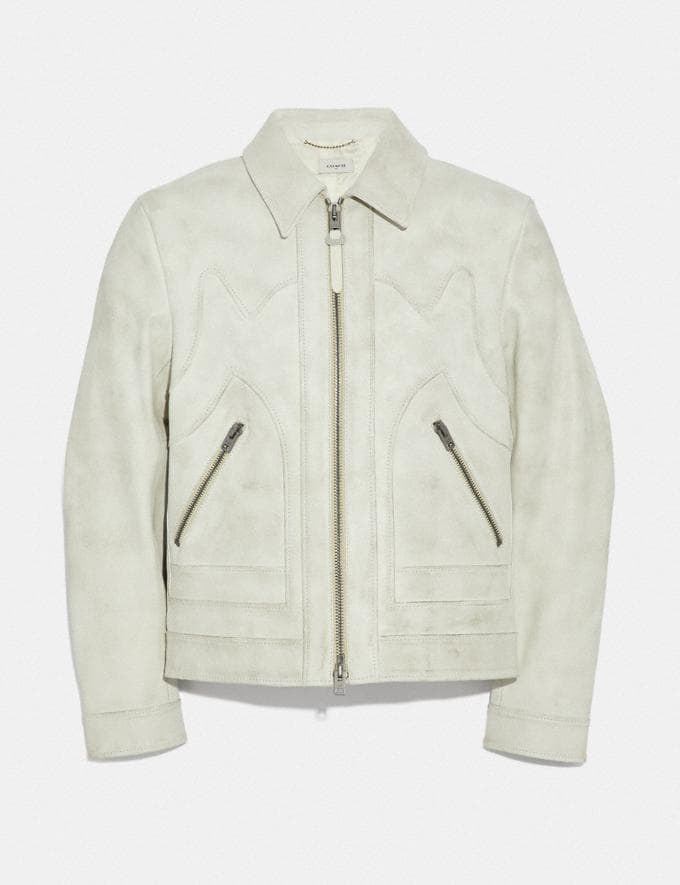 Coach Western Leather Jacket Dirty White