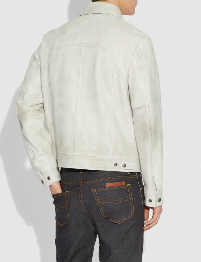 Coach Western Leather Jacket Dirty White  Alternate View 2