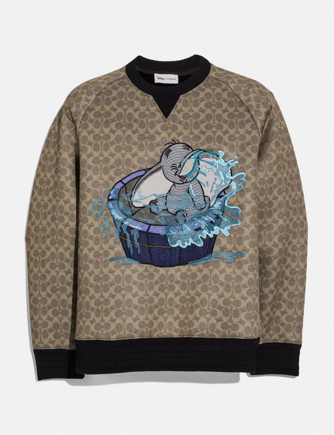 Coach Disney X Coach Signature Sweatshirt With Dumbo Khaki Signature Men Ready-to-Wear Tops & Bottoms