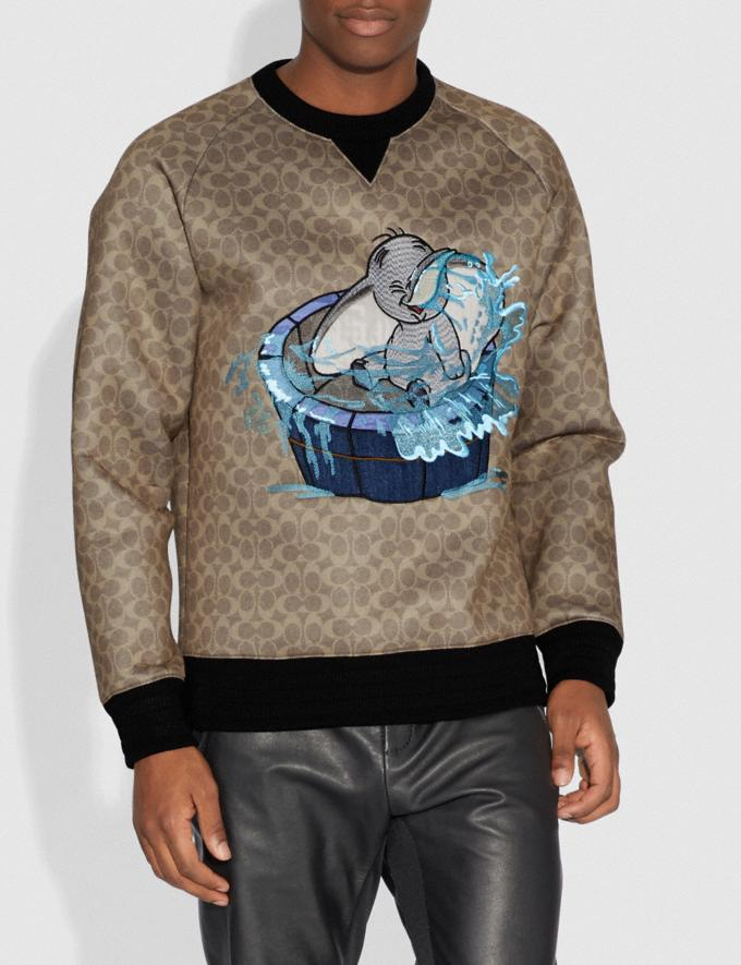 Coach Disney X Coach Signature Sweatshirt With Dumbo Khaki Signature Men Ready-to-Wear Tops & Bottoms Alternate View 1