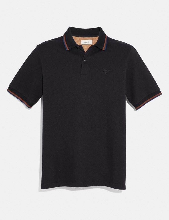 Coach Rexy Patch Polo Black Men Ready-to-Wear Tops & Bottoms