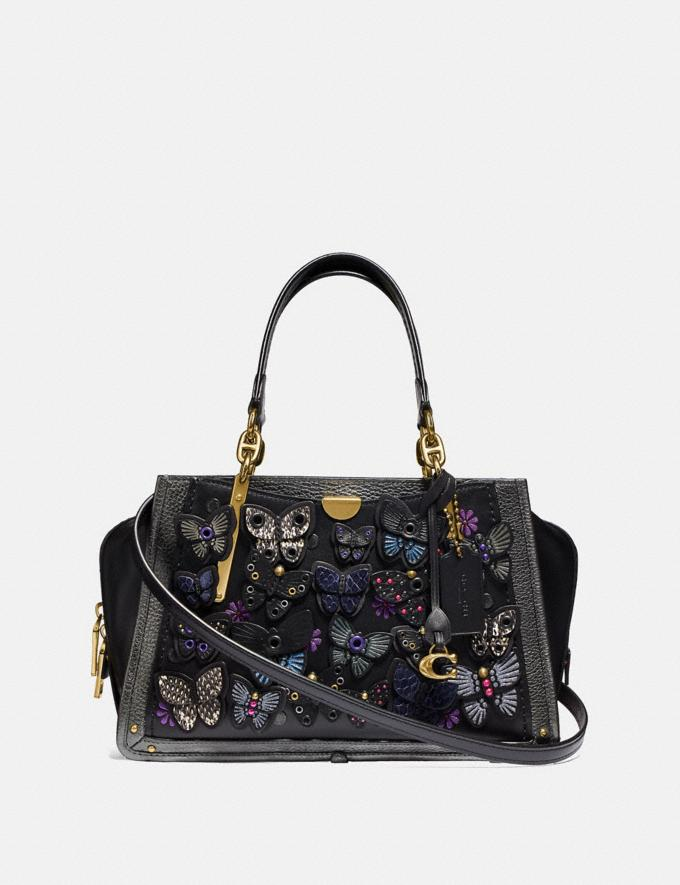 Coach Dreamer With Butterfly Applique and Snakeskin Detail Black Multi/Brass Personalise Personalise It Monogram For Her
