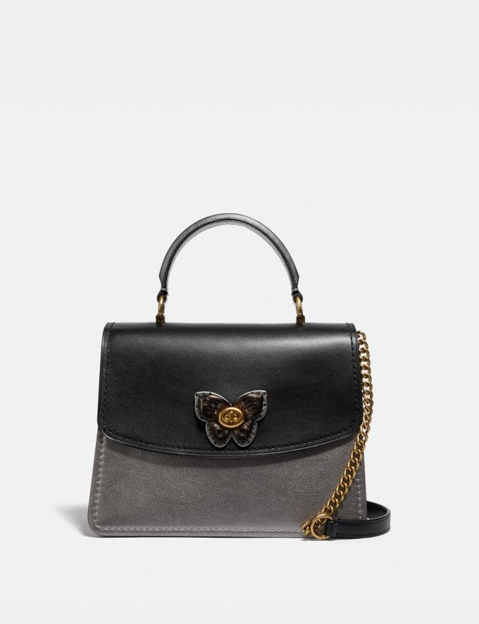 Coach Parker Top Handle With Butterfly Turnlock and Snakeskin Detail Black Multi/Brass Women Bags Satchels & Carryalls