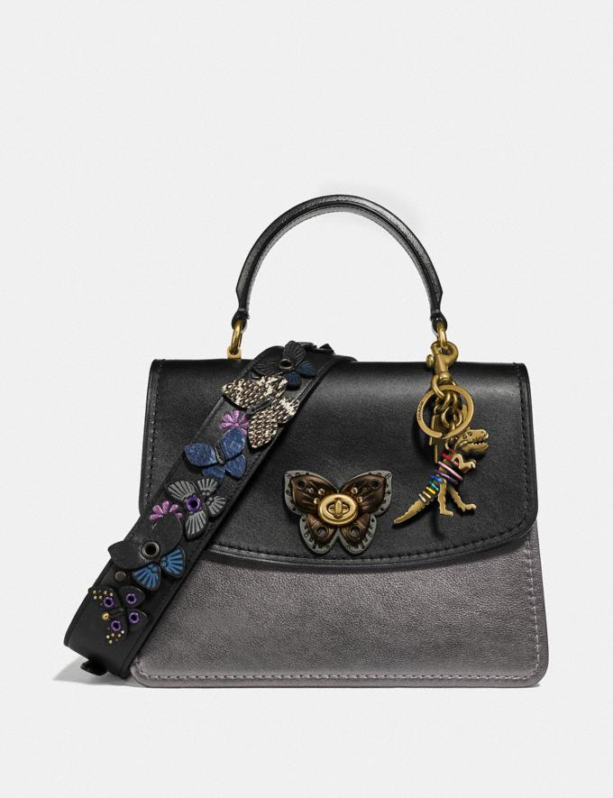 Coach Parker Top Handle With Butterfly Turnlock and Snakeskin Detail Black Multi/Brass Women Bags Satchels & Carryalls Alternate View 4
