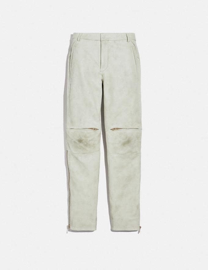 Coach Leather Moto Pants Dirty White Men Ready-to-Wear Tops & Bottoms