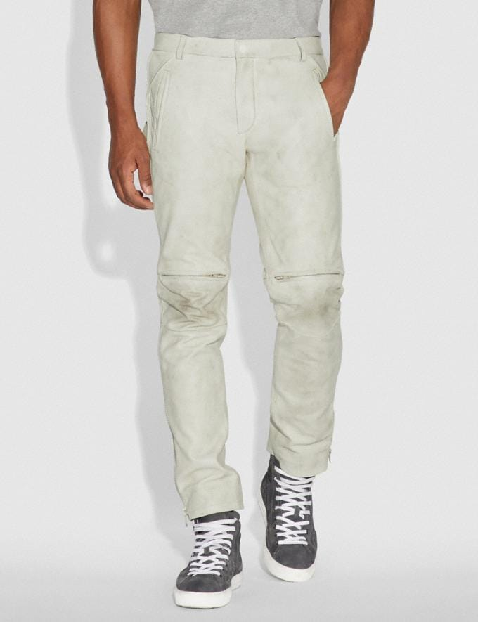 Coach Leather Moto Pants Dirty White Men Ready-to-Wear Tops & Bottoms Alternate View 1