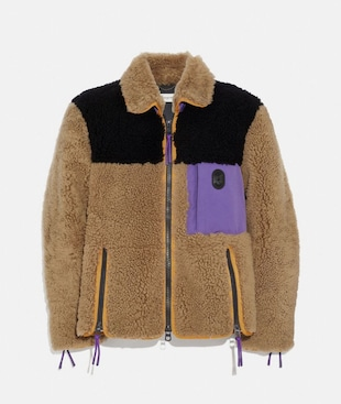 COLORBLOCK SHEARLING JACKET