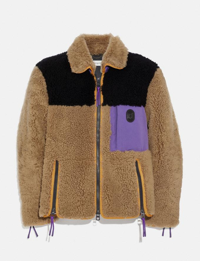 Coach Colorblock Shearling Jacket Burnt Sienna Men Ready-to-Wear