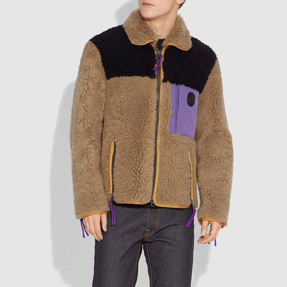 Coach Colorblock Shearling Jacket Alternate View 1