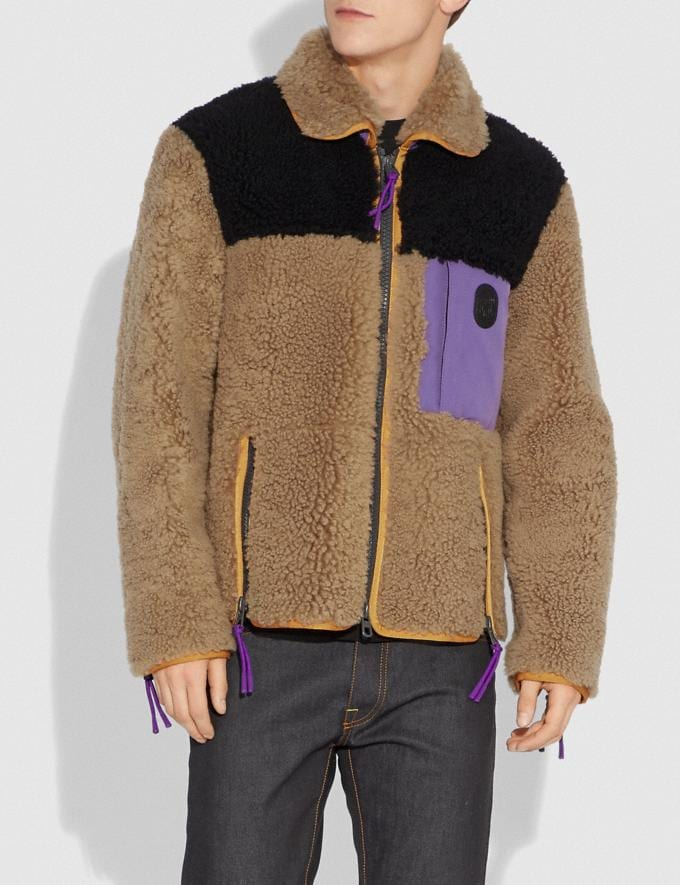 Coach Colorblock Shearling Jacket Burnt Sienna Men Ready-to-Wear Jackets & Outerwear Alternate View 1