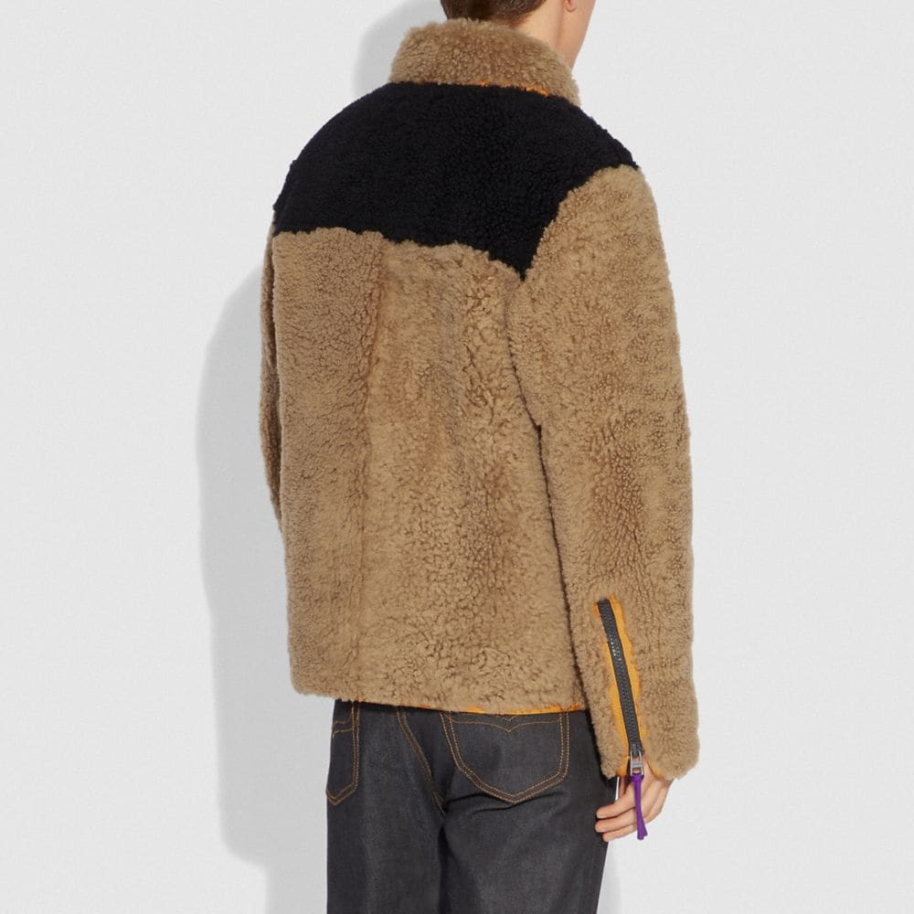 Coach Colorblock Shearling Jacket Alternate View 2