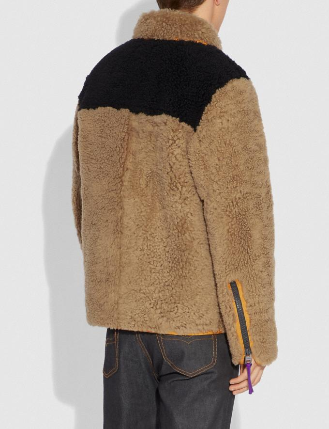 Coach Colorblock Shearling Jacket Burnt Sienna New Featured Michael B. Jordan Alternate View 2