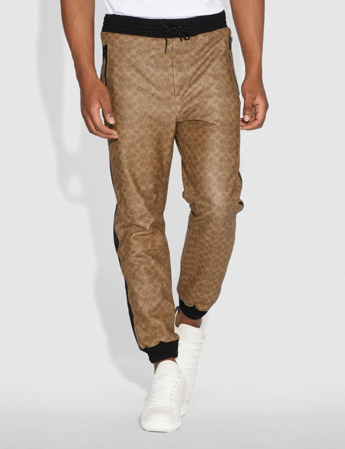 Coach Signature Varsity Track Pants Khaki Signature Men Ready-to-Wear Tops & Bottoms Alternate View 1
