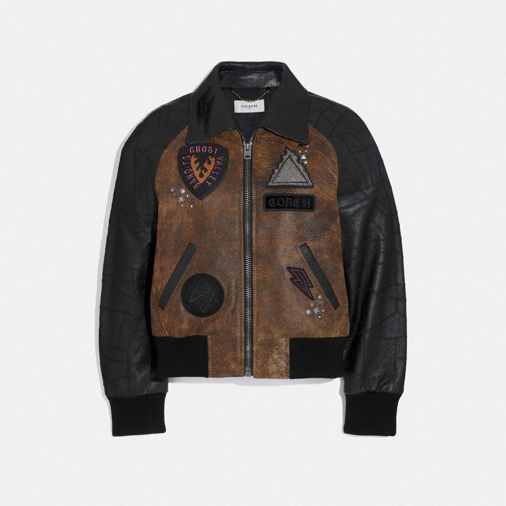 Coach Embellished Varsity Jacket With Patchwork Sleeves