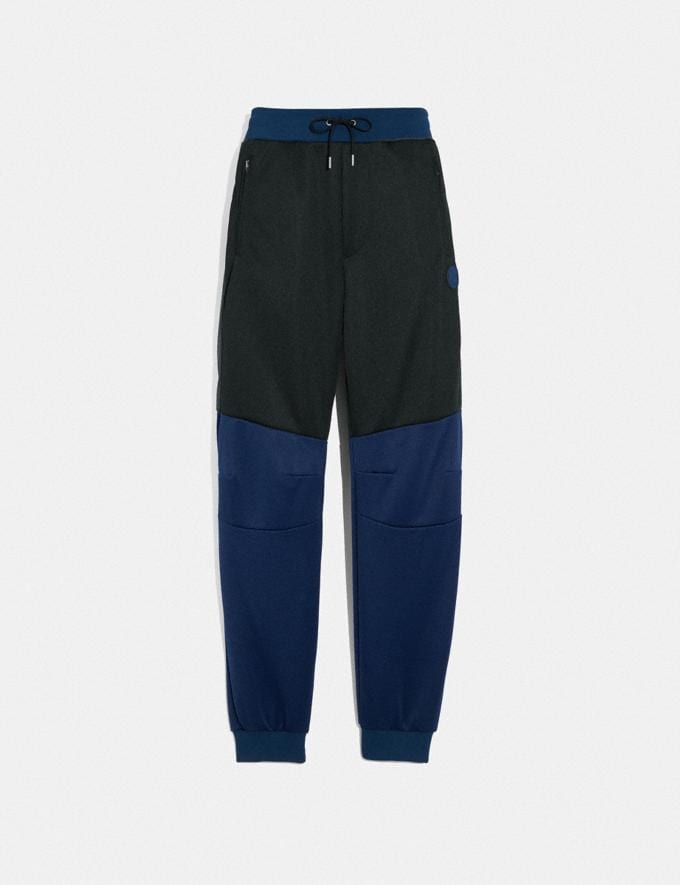 Coach Biker Pants With Coach Patch Black/Dark Cadet/Grey New Men's New Arrivals Ready-to-Wear