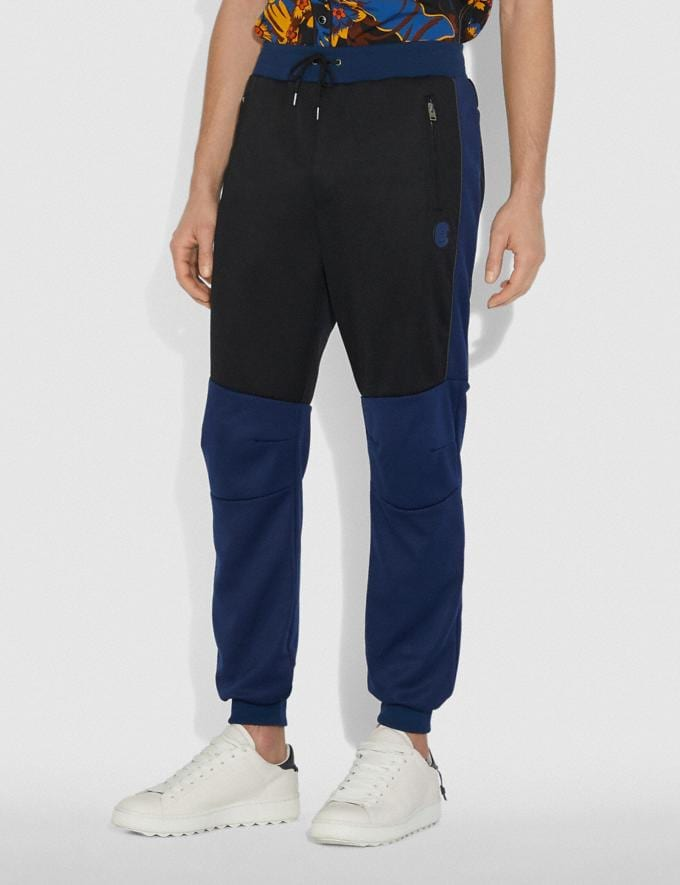 Coach Biker Pants With Coach Patch Black/Dark Cadet/Grey New Featured Michael B. Jordan Alternate View 1