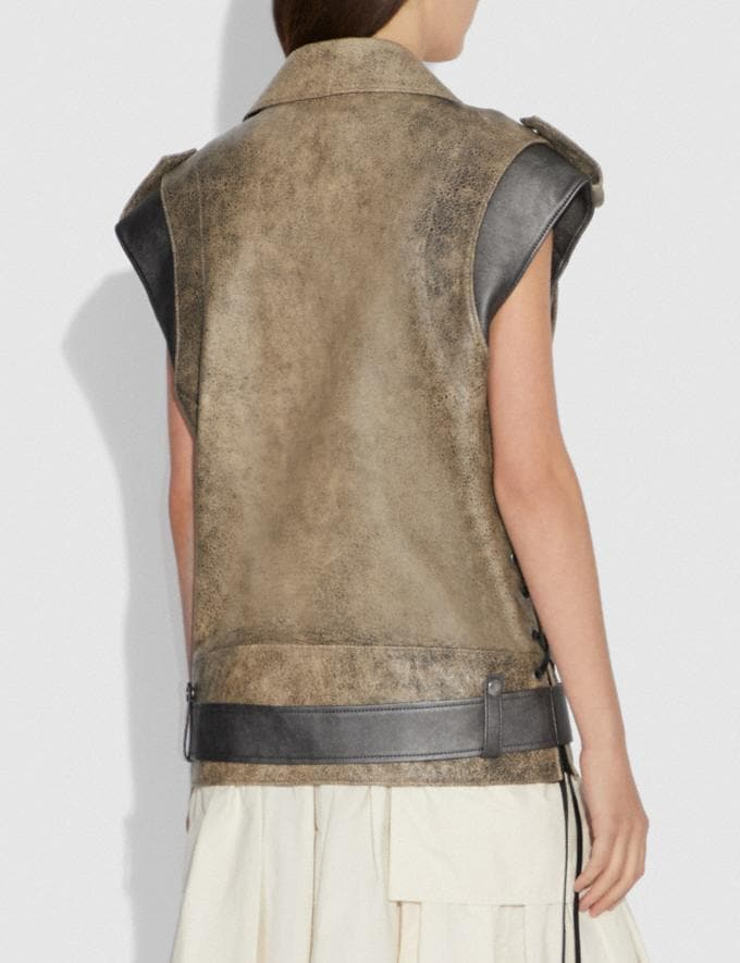 Coach Moto Vest Limestone SALE Women's Sale Ready-to-Wear Alternate View 2