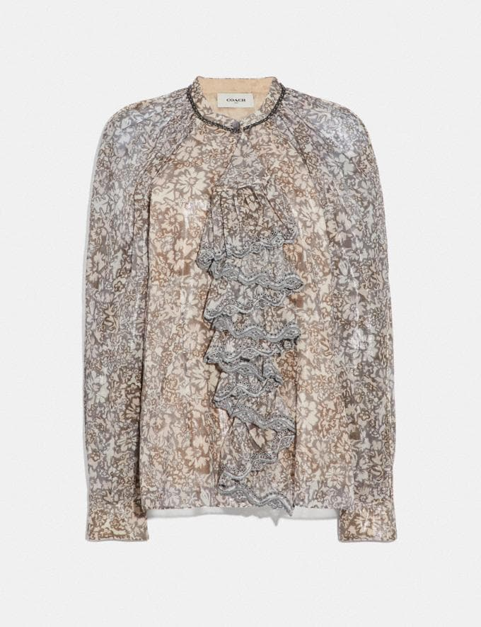 Coach Scattered Rose Bouquet Printed Top With Ruffle Fern SALE Women's Sale Ready-to-Wear