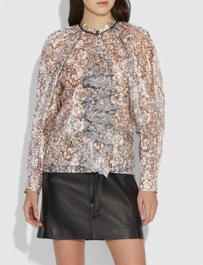 Coach Scattered Rose Bouquet Printed Top With Ruffle Fern SALE Women's Sale Ready-to-Wear Alternate View 1