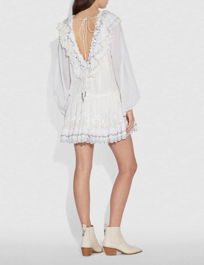 Coach Romantic Mini Dress With Stud Embellishments White  Alternate View 2