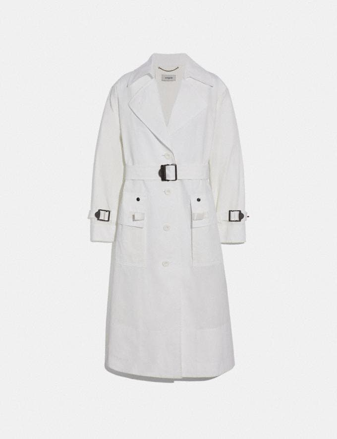 Coach Long Military Coat White Women Ready-to-Wear Coats & Jackets