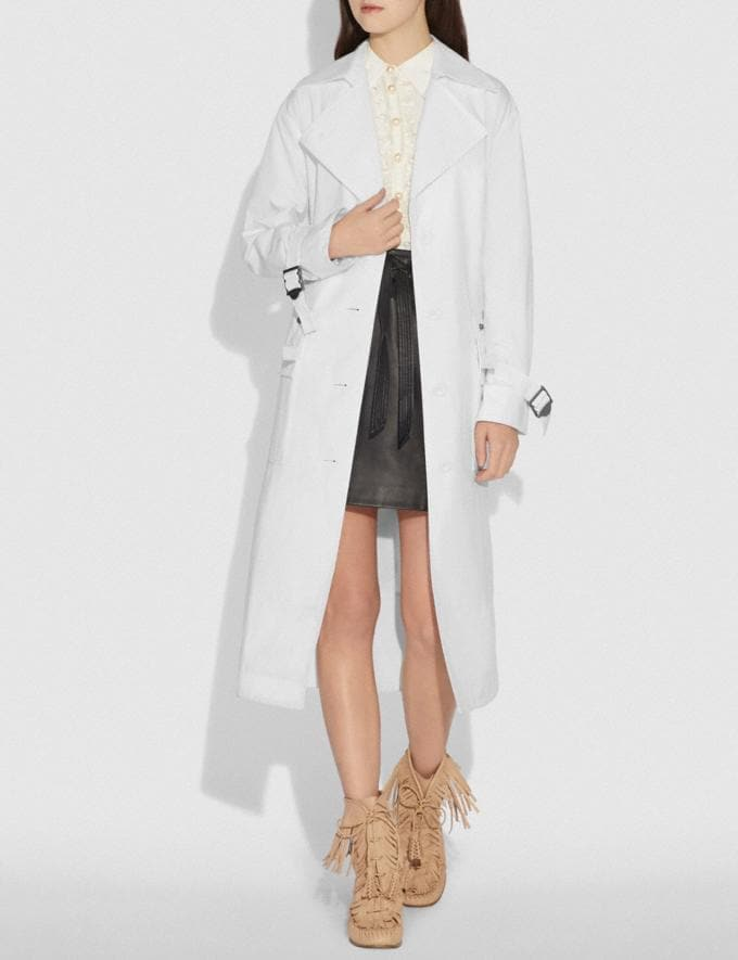 Coach Long Military Coat White SALE Women's Sale Ready-to-Wear Alternate View 1