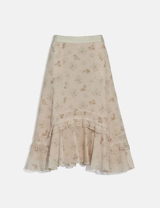 Coach Disney X Coach Long Tiered Skirt Cream Women Ready-to-Wear Bottoms