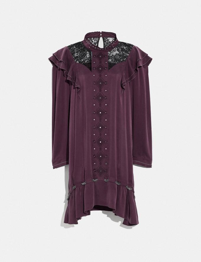 Coach Long Sleeve Dress With Ruffle Trim Purple SALE Women's Sale Ready-to-Wear