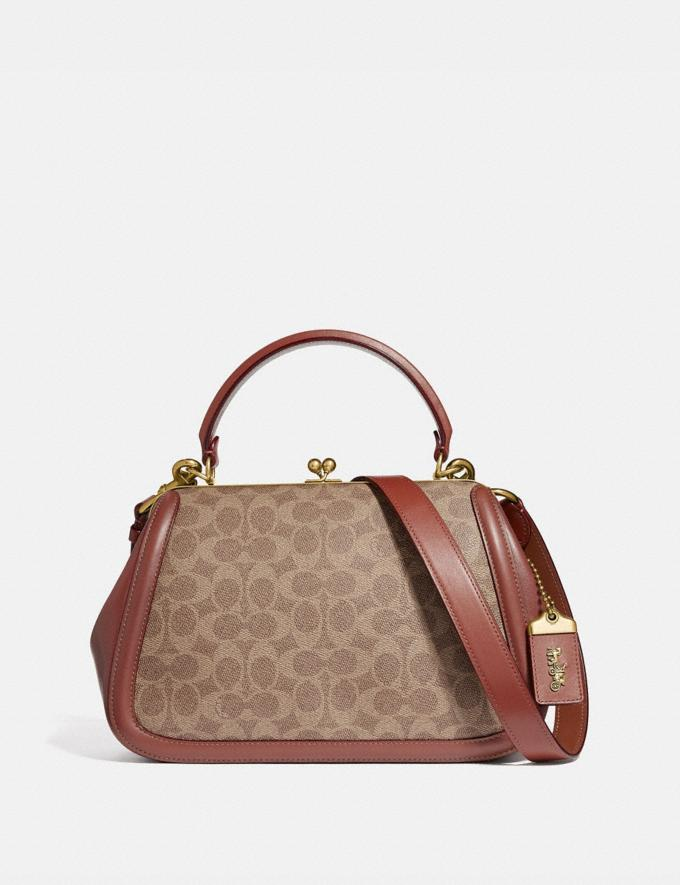 Coach Frame Bag in Signature Canvas Tan/Rust/Brass Women Bags Satchels
