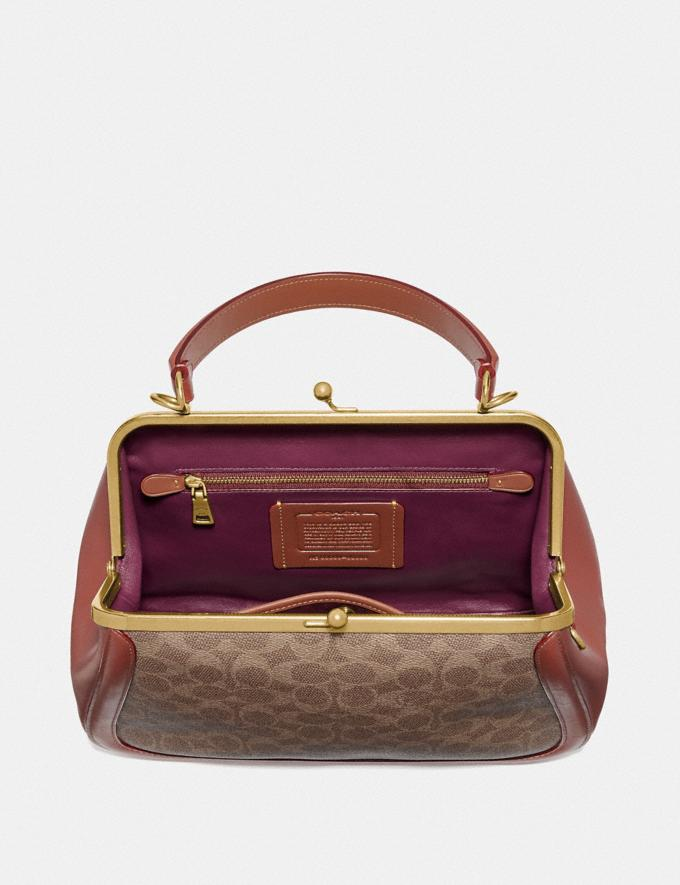 Coach Frame Bag in Signature Canvas Tan/Rust/Brass Women Bags Satchels Alternate View 2