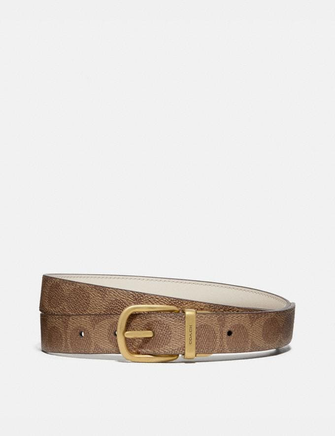 Coach Harness Buckle Reversible Belt, 25mm Chalk/Tan/Brass Women Accessories Belts