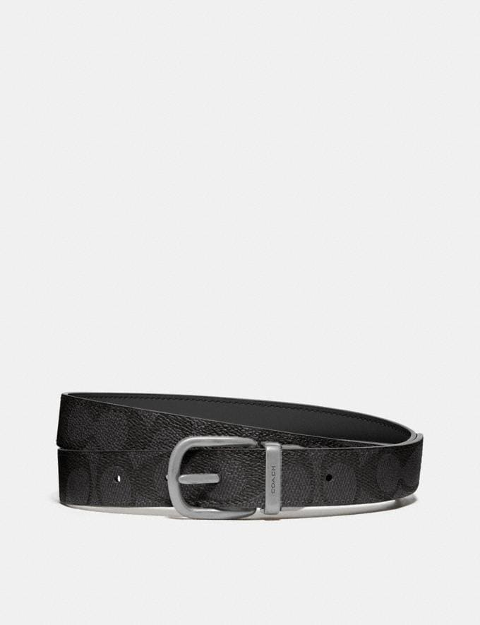 Coach Harness Buckle Reversible Belt, 25mm Black/Charcoal/Nickel Women Accessories Belts