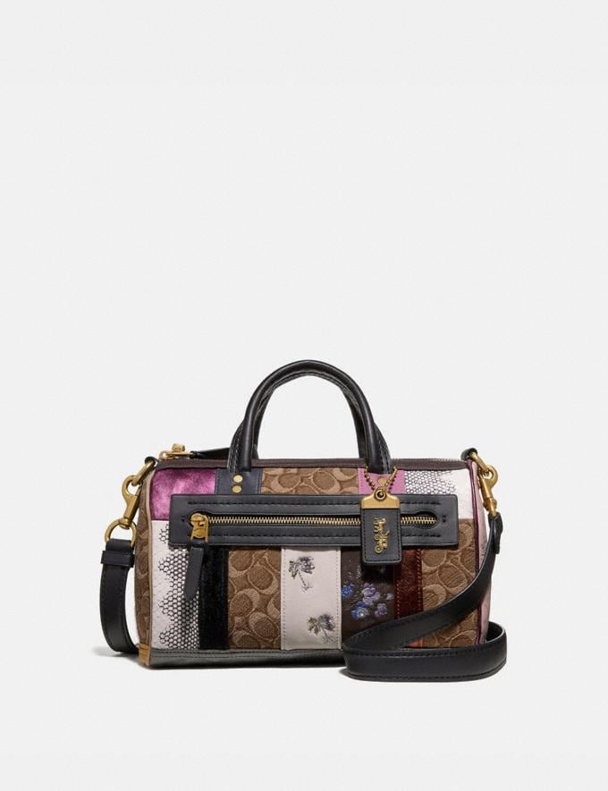 Coach Shuffle in Signature Jacquard Tan Black/Brass Women Collection Signature Styles