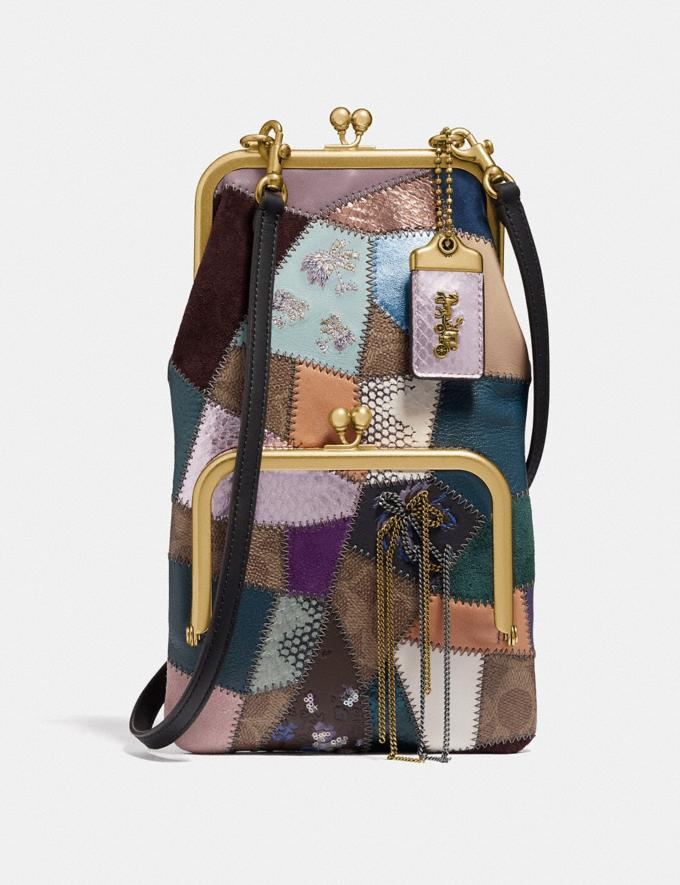 Coach Double Frame Crossbody With Signature Patchwork Tan/Black Multi/Brass Women Bags Crossbody Bags