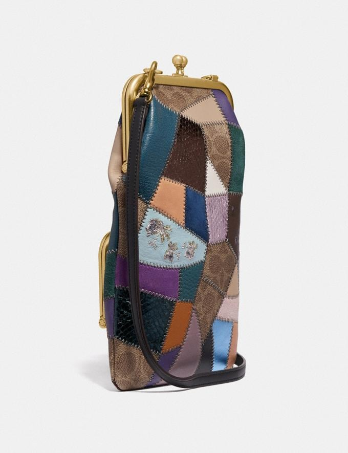 Coach Double Frame Crossbody With Signature Patchwork Tan/Black Multi/Brass Women Bags Crossbody Bags Alternate View 1