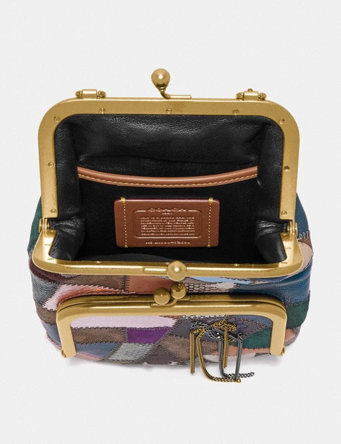 Coach Double Frame Crossbody With Signature Patchwork Tan/Black Multi/Brass Women Bags Crossbody Bags Alternate View 2